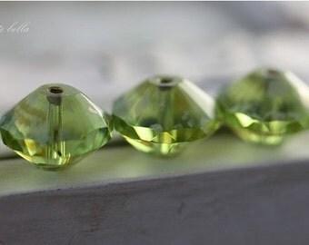 WICKED APPLES .. 4 Picasso Czech Glass Rivoli Bead 13x10mm (2459-4)