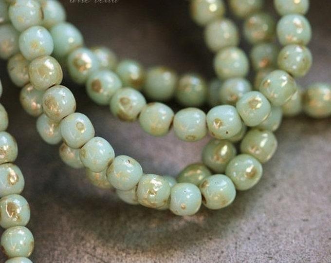 MINTY DRUKS No. 3 .. 50 Picasso Czech Druk Glass Beads 3mm (3675-st)
