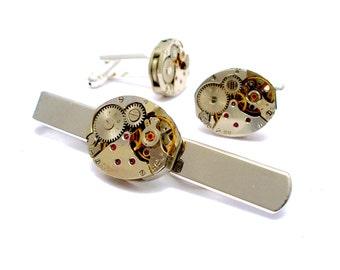 Watch Movement Cufflinks Set with Rubies - silver plated - Clock Cufflinks, Watch Cufflinks, Steam Punk Cufflinks