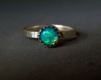 Ethiopian opal ring / October birthstone / Welo opal and sterling ring / modern engagement ring / sterling silver ring / blue and green opal