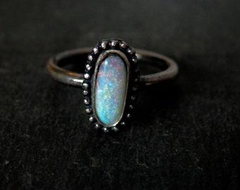 Australian boulder opal ring / opal ring / October birthstone ring / boulder opal jewelry / rainbow opal ring / dainty opal jewelry
