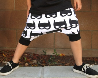Baby Boy Baby Girl Batman, Black and White Masks Harem Shorts: Etsy kid's fashion, toddler boy toddler girl, superhero shorts, halloween