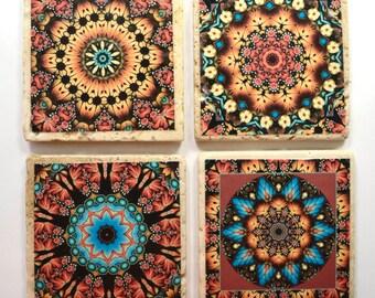 Travertine Tile Coaster Set  Earthy Morocco