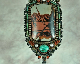Necklace, bead embroidery, beaded, apache jasper, scenic, one-of-a-kind