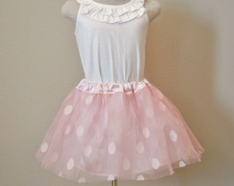 Child Tulle satin skirt, Polka dot tulle skirt, flower girl tulle skirt, pink tulle skirt
