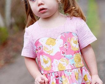 Girls Sweetheart Dress & Tunic PDF Pattern - Exposed Zipper