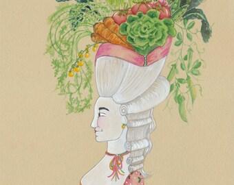 "Rustic Vegetable Art, Nature Art 5"" x 7"" Watercolor, Kale, Summer Corn, Tomato, Lettuce, Carrot, Peas, and Radish Art, French Garden Art"