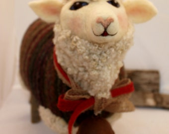 Sheep, Large Standing Needle Felted Sheep,Lammies in Jammies White Needle Felted Sheep #1733