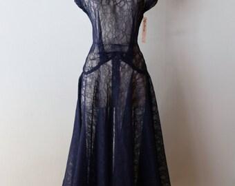 Vintage 1930s Blue Lace Cocktail Dress ~ Vintage 30s Cocktail Dress Sheer Navy Blue Lace Party Dress