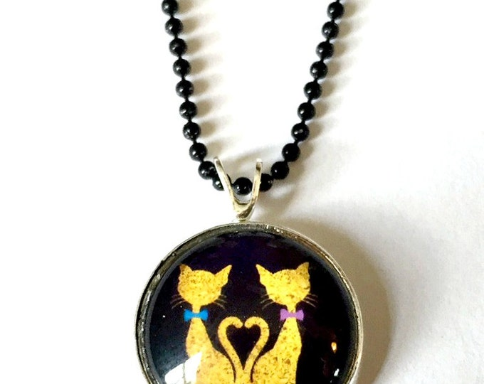 Cat Necklace, Kitty Cats Pendant, 16mm Black Cat Pendant with 24 inch Black Chain, Black Cat Necklace, Cat Love Pendant, Cat Heart Pendant