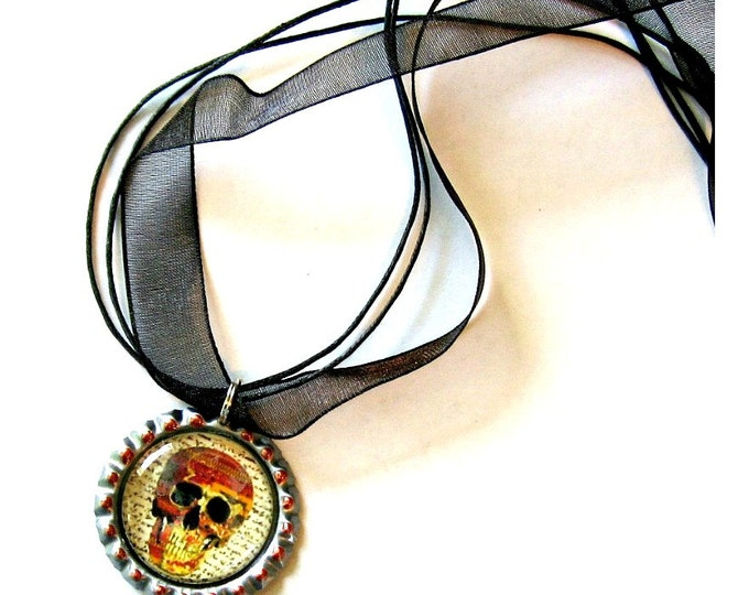 Skull Choker Necklace,  Skull Choker Necklace Pendant, Día de Muertos Organza Ribbon Bottle Cap Pendant, Skeleton Skull  Pendant