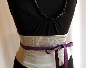 Raw Silk Sash Boned Corset Belts for the Bride and Bridesmaids in your Wedding Colors CUSTOM SIZES