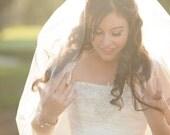 Fingertip Veil with Ribbon Edge, Wedding Veil, One Layer Diamond White Veil, Ivory Bridal Veil, Ready to Ship