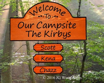 Carved Redwood Camper Sign - Welcome To Our Campsite with 3 add ons of your choice JG Wood Signs Etsy Personalized RV Sign