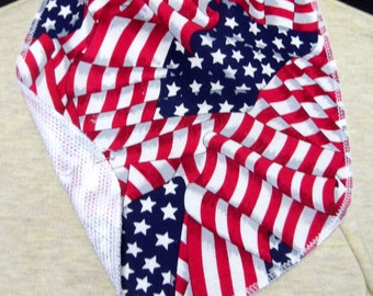 Patriotic Tracheostomy stoma covers with mesh backing-dickeys with ties-