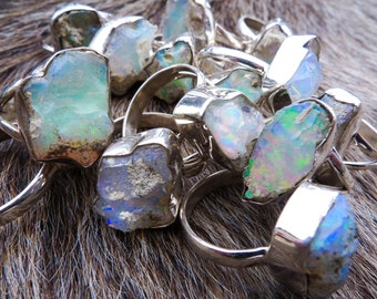 ON SALE Raw opal ring | Rough opal ring | Chunky opal ring | Birthstone ring | Fire opal ring | Opal in silver ring