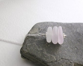 Lavender Sea Glass Pendant, Purple Ombre Recycled Jewelry, Beach Glass Necklace, Bridesmaid Jewelry