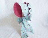 Baby Sun Bonnet Button Bonnet - Cherries on Blue Red Gingham