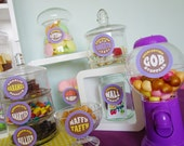 Willy Wonka candy jar labels Willy Wonka birthday party Wonka candy buffet DiY printable Willy Wonka candy labels PuRPLe