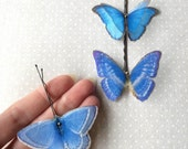 Soft - Handmade Bio Cotton and Silk Organza Turquoise Butterflies Hair Bobby Pin - 3 pieces