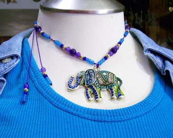 Funky Tribal Eccentric  Painted  Elephant Adjustable Necklace Sri sukta