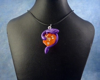 Purple and Peach Dicekeeper Dragon Necklace - D20 Pendant