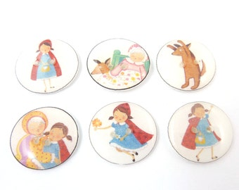 "6 Red Riding Hood buttons.  Handmade Buttons. 3/4"" or 20 mm Children's sewing buttons."