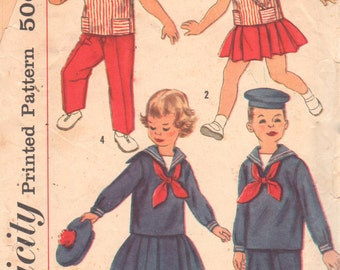 1950s Simplicity 2402 Toddlers Sailor Outfit Pattern Boys Girls Middy Skirt Pants Vestee Tie Vintage Sewing Size 4 Breast Chest 23
