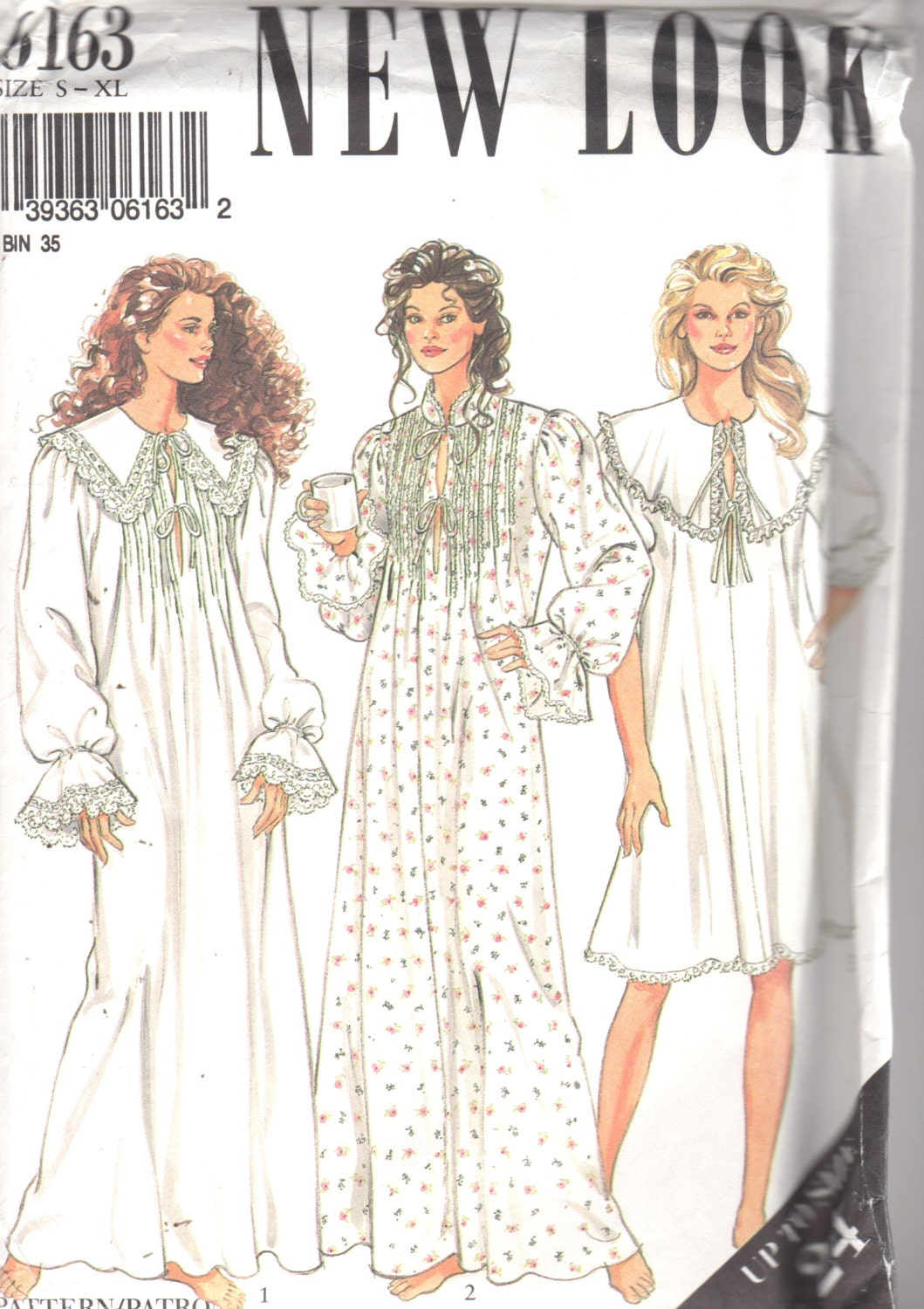 new look 6163 misses victorian style nightgown pattern tucked