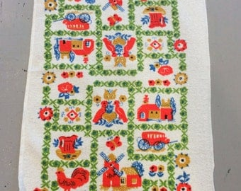 Vintage Towel Dutch Farm Windmills & Lovebirds