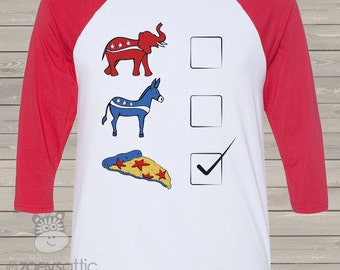 Funny political satire pizza party unisex ADULT raglan tshirt - perfect for election night party PPPSSR