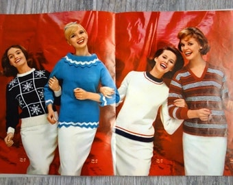 Vintage Sweater Patterns, 25 Sweaters to Knit in 1967 Columbia Minerva's Spotlight on Sweaters, Book 745,