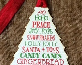 Tree Shaped Word Art Christmas Words Gift Tags #153