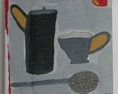 Modern folk art painting of cups