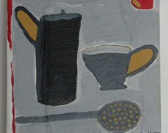 Modern folk art painting of cups
