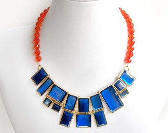 Cobalt Blue and Tangerine Orange Statement Bib Necklace - Chunky Gold Necklace - Beaded Statement Necklace - Blue, Orange - Hyacinth Czech