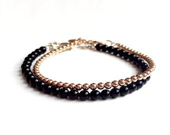Set of Two (2) Bead Bracelets: 14K Rose Gold Filled 3mm Bead Bracelet and 4mm Genuine Onyx Bead Bracelet Set - Stacking Bracelets