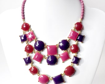 Shades of Purple Bib Necklace in Gold - Plum, Eggplant, Fuchsia, Burgundy Statement Necklace - Unique Bib Necklace