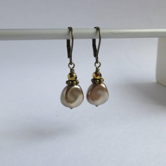 Champagne Pearl Earrings, Antiqued Golden Glass, Bronze Brown Faux Pearl, Lightweight Leverback Earrings