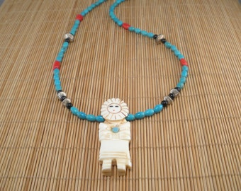 Reserved for Deborah- Turquoise Stone Necklace Carved Sunface Necklace Turquoise and Red Coral Necklace Southwest Style Sterling Silver