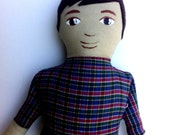 Boy Cloth Doll with Brown Hair and Plaid Shirt READY to SHIP gifts for boys gifts under 50 fabric doll soft doll rag doll boy doll
