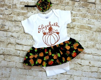 First Thanksgiving Outfit - Personalized Baby Onesie - 1st Thanksgiving - Thanksgiving Baby Dress - Fall Outfit - Autumn Dress - 3 to 24 mos