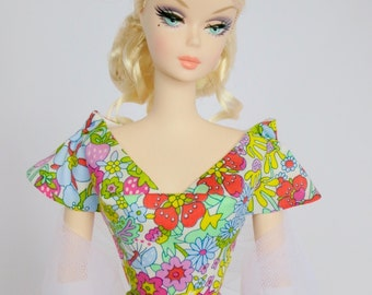 Silkstone Barbie Outfit Party Dress Gown in Liberty fabric- 'Flower Tops'