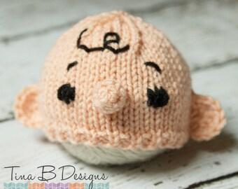 Newborn knit Charlie Brown hat