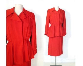 1940s Women's Suit / Tomato Red Gabardine Suit / Vintage 40s Suit / Skirt Suit / XS