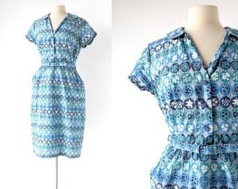Vintage 1960s Dress / Parterres de Fleurs / Floral Dress / 60s Blue Dress / Large L
