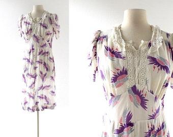 1940s Rayon Dress / Moonflower / Floral Dress / 40s Dress / M L