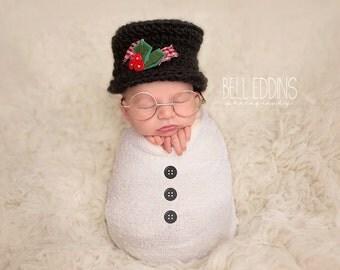 newborn top hat // snowman hat // christmas hat // winter// boy photo prop // tophat // holiday // newborn photo prop // Santa Hat