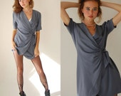 Wrap Around Blazer Vintage 80s Gray Pleated Draped Wrap Boho Indie Around Blazer Blouse (s m)
