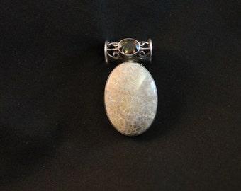 Fossilized Coral, Petoskey Stone, Quartz, Sterling, Pendant, Silver, Necklace, Jewelry, tribal jewelry, organic jewelry, coral,fossil,quartz